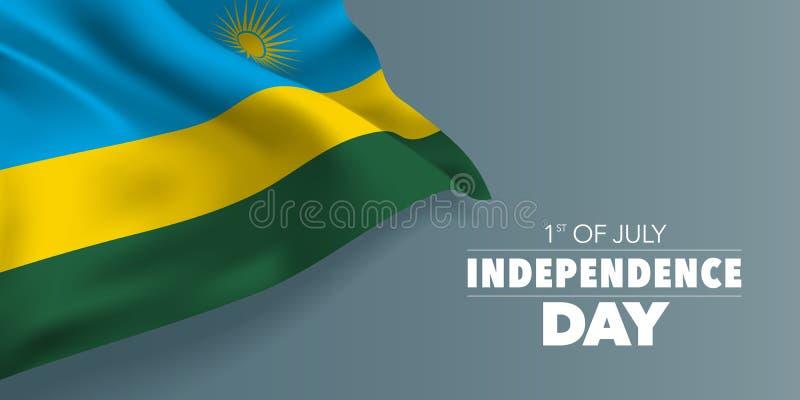Unabhängigkeitstag-Grußkarte Ruandas glückliche, Fahne mit Schablonentext-Vektorillustration stock abbildung
