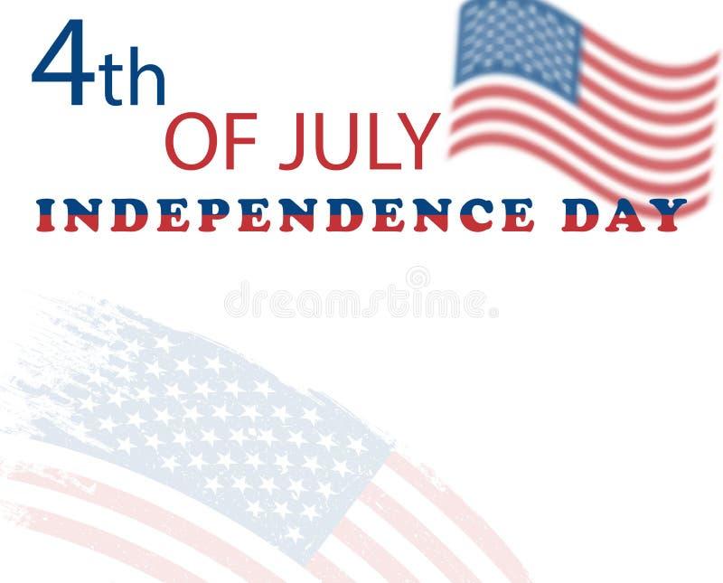 Unabhängigkeitstag USA der Illustration am 4. Juli Amerikanische grunge Markierungsfahne Vektorplakat, Fahne, Feiertagskarte, hel lizenzfreie abbildung