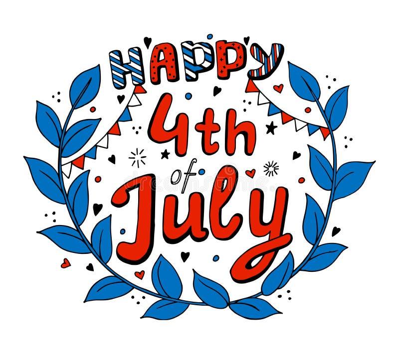 Unabhängigkeitstag USA am 4. Juli lizenzfreie abbildung