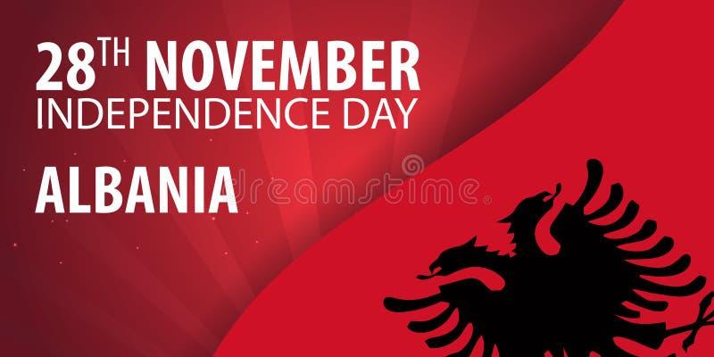 Unabhängigkeitstag von Albanien Flagge und patriotische Fahne Auch im corel abgehobenen Betrag lizenzfreie abbildung
