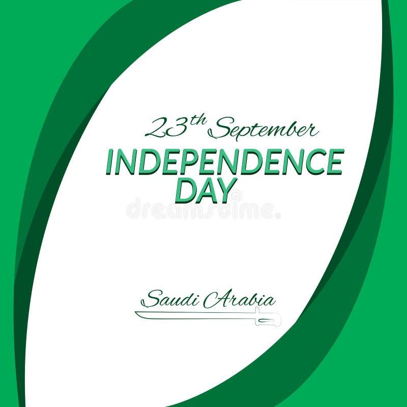 Unabhängigkeitstag Saudi-Arabiens am 23. September vor dem Hintergrund der nationalen Flagge Saudi-Arabiens Vector lizenzfreie abbildung