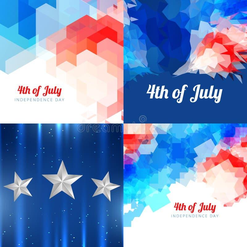 Unabhängigkeitstagflaggen-Designillustration des Vektors amerikanische stock abbildung