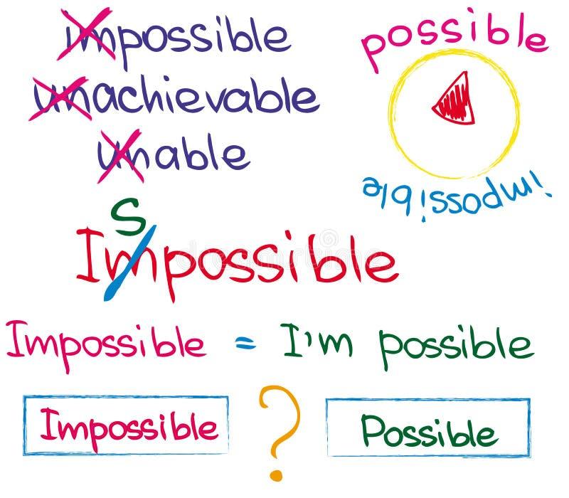 Unable5 unachievable impossível ilustração stock