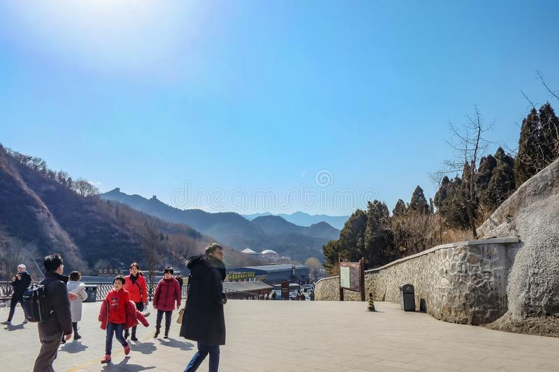 Unacquainted Chinese people or tourist walking in Cable Car Station to Great Wall of China in Beijing City royalty free stock photography