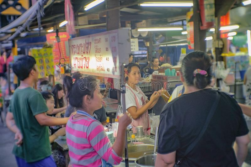 Unacquainted Thai people or tourist in Talat Phlu Train Station Market.Talat Phlu Market is the Old market and very Famous local F royalty free stock photos