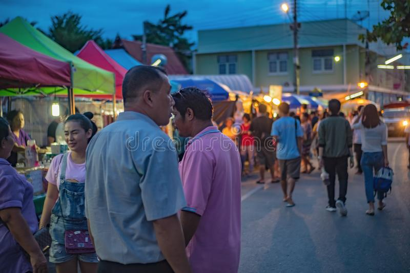 Unacquainted Thai people and tourists come to visit Amphawa Floating market in holiday time. Samutsongkhram/Thailand - 16 September 2107 : Unacquainted Thai royalty free stock images