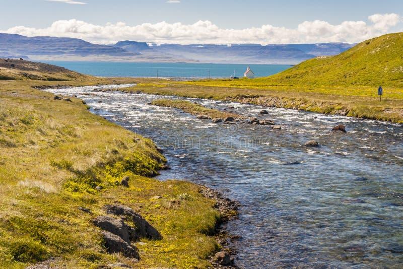 Unadsdalur wioska - Iceland, Westfjords. obraz stock
