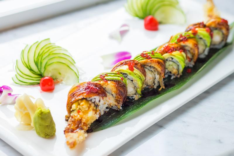 Unagi Grilled Eel Japanese Sushi With Avocado royalty free stock photo