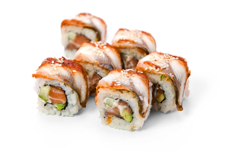 Unagi Rolls on Plate royalty free stock photo