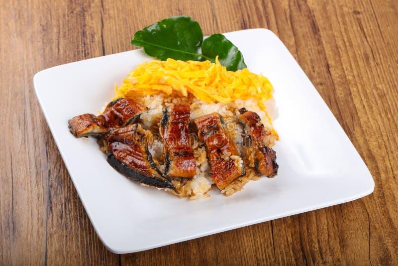 Unaju - eel with rice stock photo