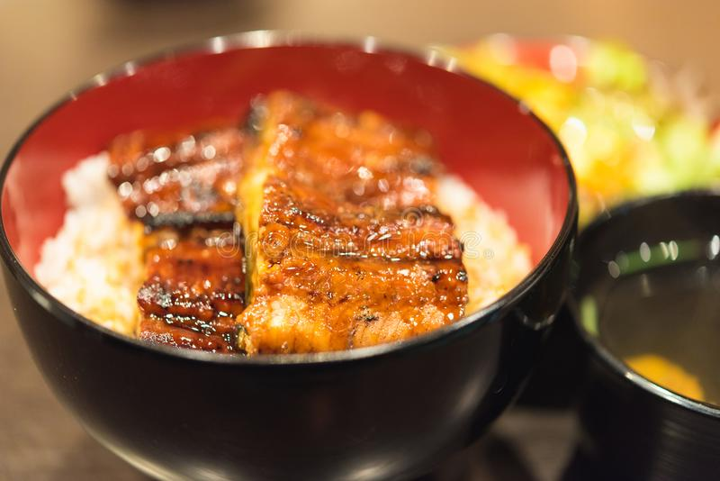 Unaju, white rice topped with grilled eel stock image
