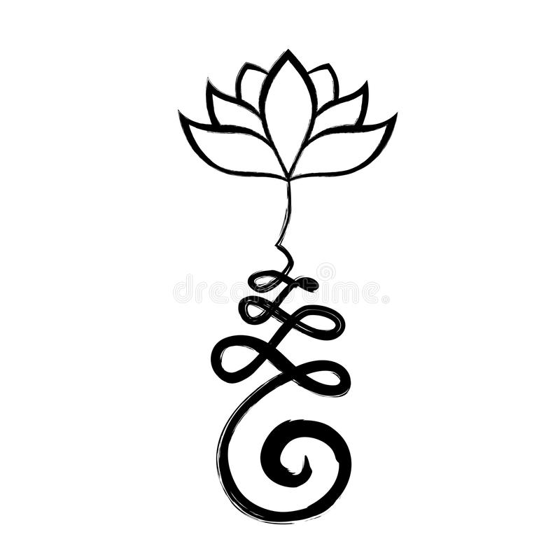 Unalome, chemin de la vie avec la fleur de lotus illustration de vecteur