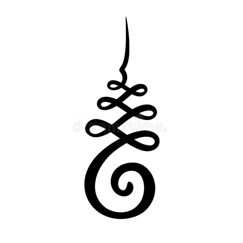 Unalome symbol drawing. Unalome symbol, Hindu or Buddhist sign representing path to enlightenment. Simple black and white ink drawing, isolated vector stock illustration