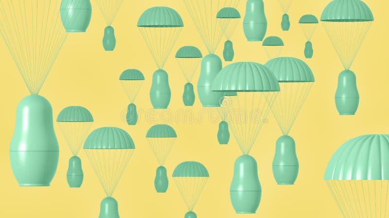 Unaocznienie gniazdować lala spadochroniarzów obraz royalty free