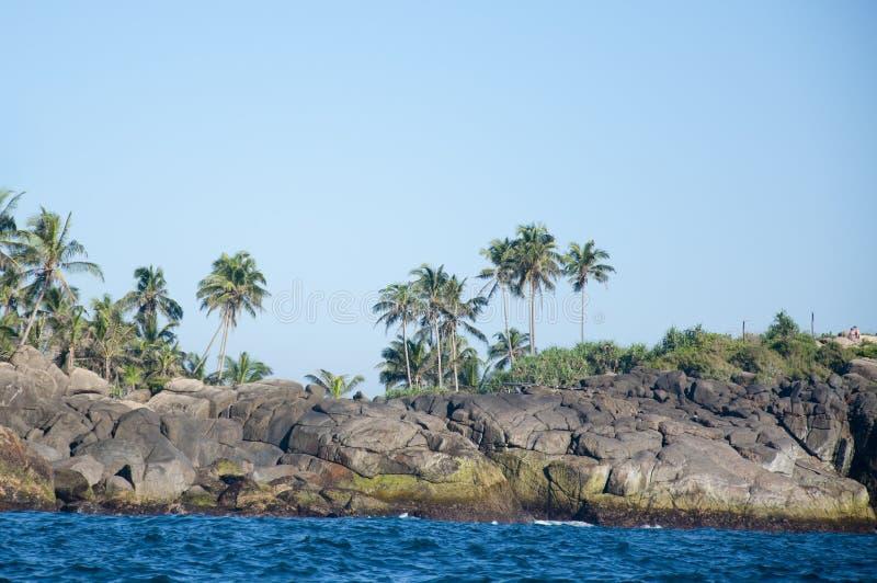 Unawatuna岩石和海滨,斯里南卡 图库摄影