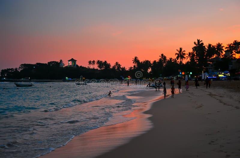 Unawatuna beach at dawn. In Sri Lanka stock photos
