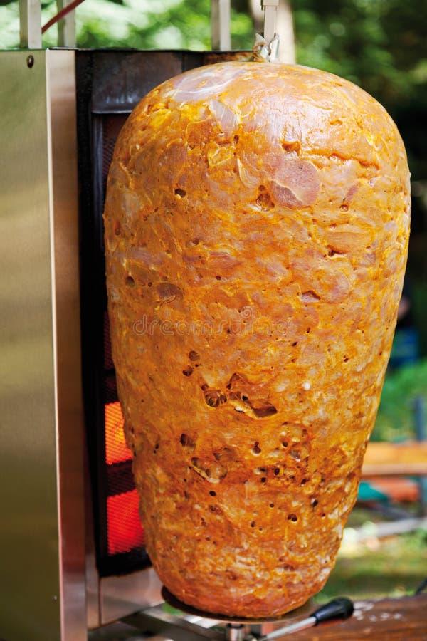 Unbaked doner kebab,close up stock photo