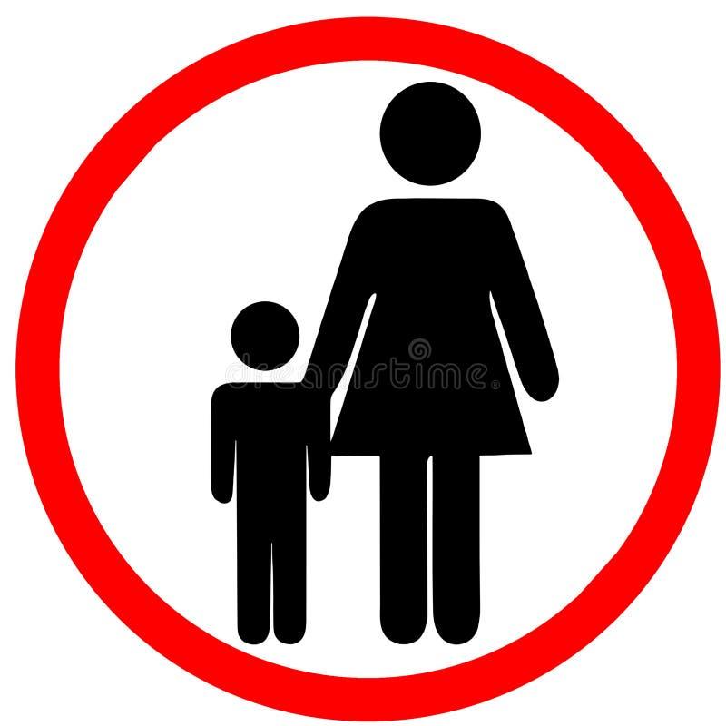 Unbeaufsichtigte Kinder riskieren Kreis-Verkehrsschild der warnenden Informationen das rote, das auf weißem Hintergrund lokalisie vektor abbildung