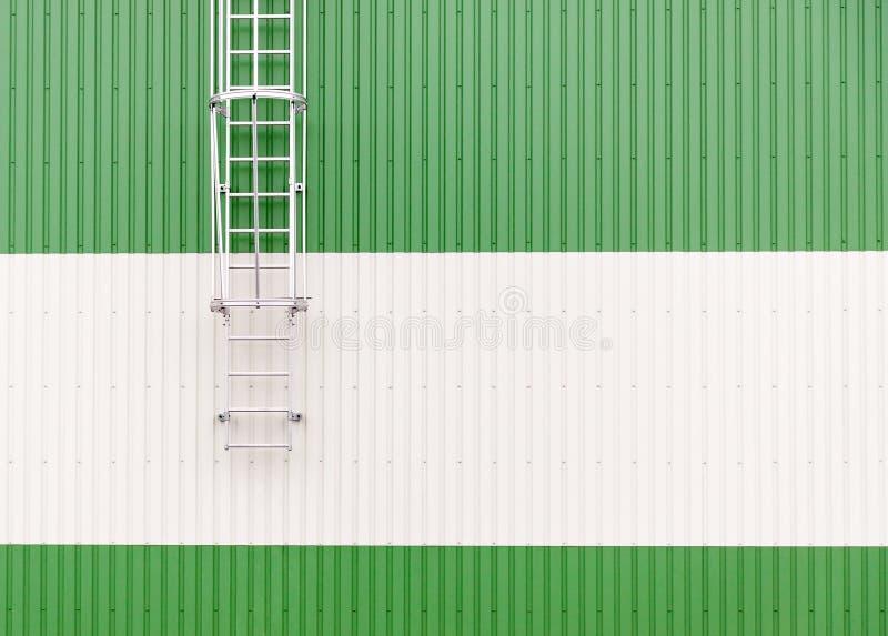 Unbedeutende industrielle Lagerwand der Zusammenfassung mit Metallleiter stockbild