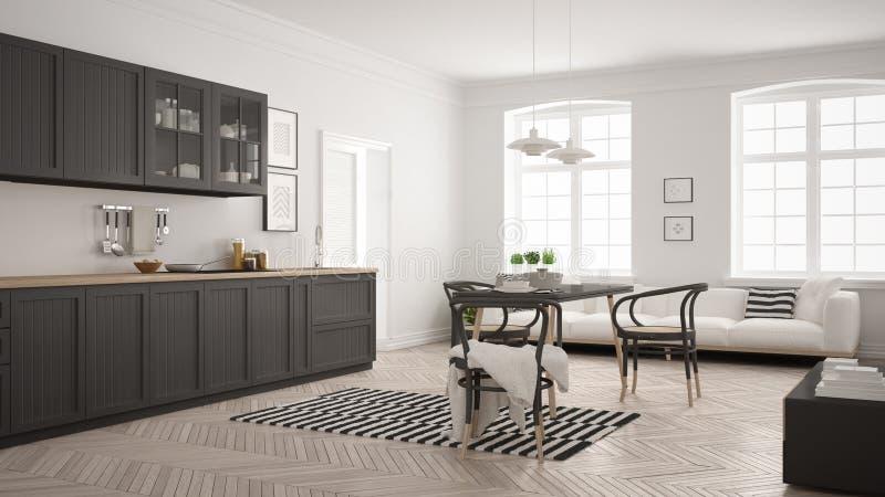 Unbedeutende moderne Küche mit Speisetische und Wohnzimmer, whi vektor abbildung