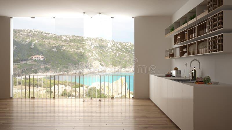 Unbedeutende weiße und hölzerne Küche mit Parkettboden und großem panoramischem Fenster Meer und Granit schaukeln Panorama mit bl vektor abbildung