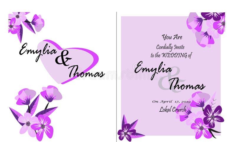 Unbedeutender Blumenheiratseinladungskarten-Schablonenentwurf, tropische Anlagen und Blumen auf weißem Hintergrund lizenzfreie abbildung