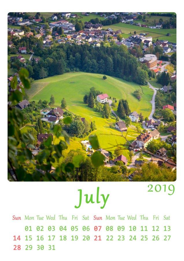 Unbedeutender Kalender der Natur A4 bedruckbare 2019 - Monat Juli stockfotos