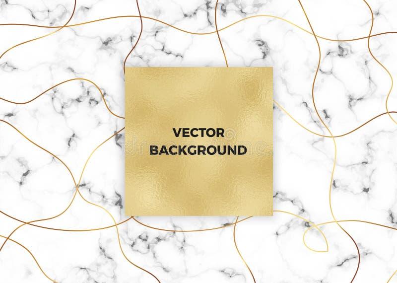 Unbedeutender weißer Marmor mit Goldlinien und Folienbeschaffenheit Luxusabdeckung Schabloneen Umfassen Sie Design für Plakate, F lizenzfreie abbildung