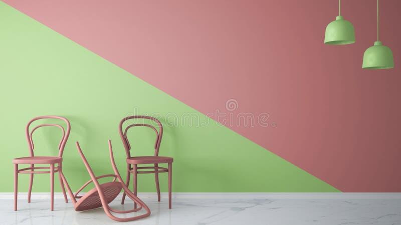 Unbedeutendes Architektendesignerkonzept mit drei Klassiker farbigen Stühlen, ein Stuhl drehte Veilchen auf rosa und grünem Hinte lizenzfreie abbildung