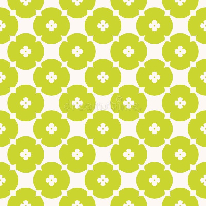 Unbedeutendes geometrisches nahtloses mit Blumenmuster des einfachen Vektors Gr?n und Wei? vektor abbildung