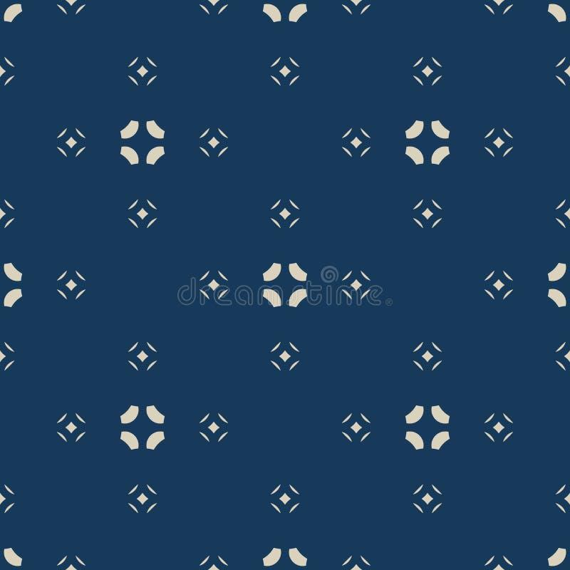 Unbedeutendes nahtloses mit Blumenmuster des Vektors Einfaches Gold und blaue abstrakte Beschaffenheit stock abbildung