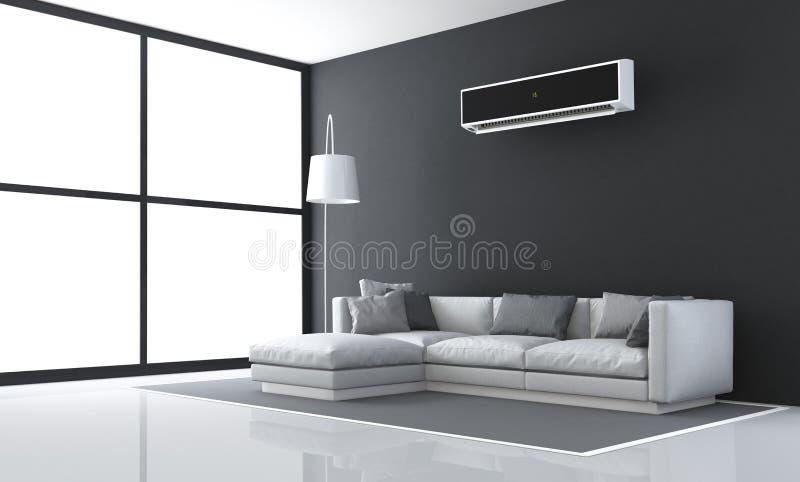 Unbedeutendes Schwarzweiss-Wohnzimmer lizenzfreie abbildung