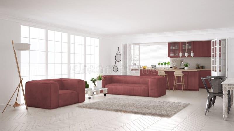 Unbedeutendes Weiß und rotes Leben und Küche, skandinavisches classi stock abbildung
