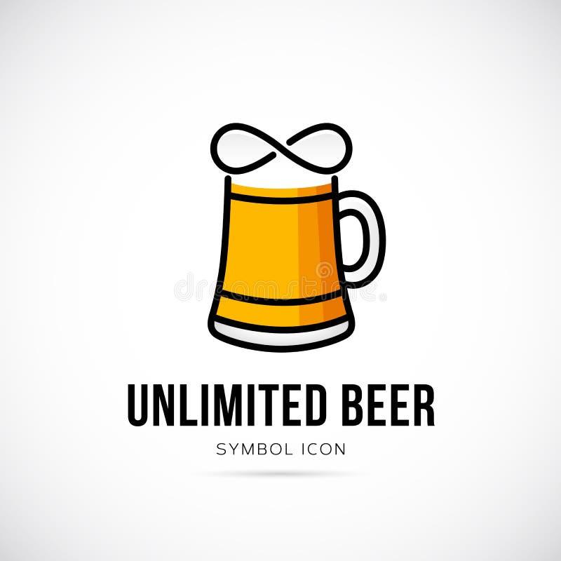 Unbegrenzte Bier-Vektor-Konzept-Symbol-Ikone oder Logo vektor abbildung