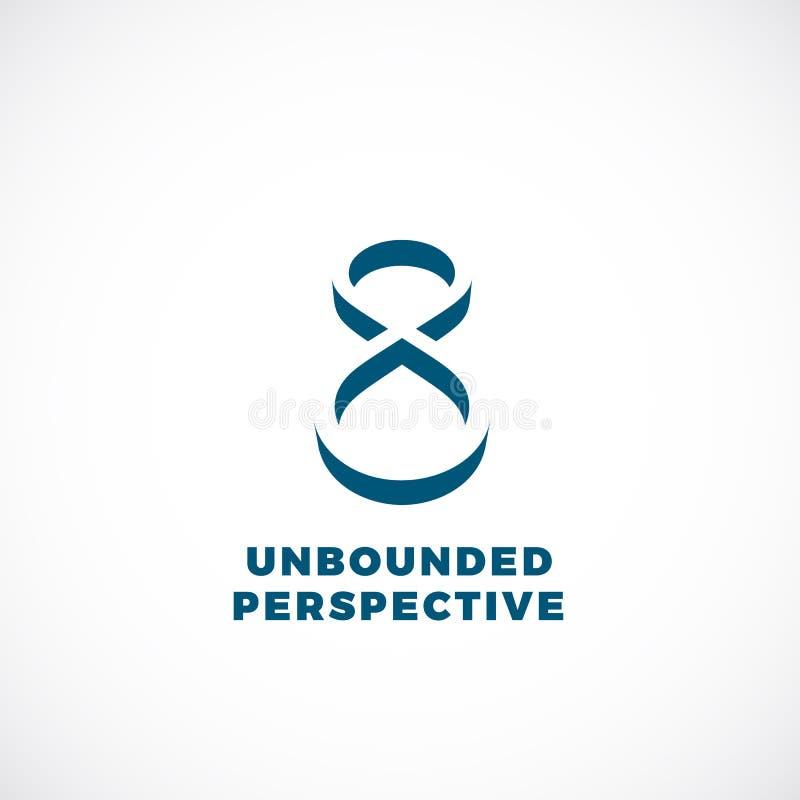 Unbegrenzter Perspektiven-abstrakter Begriff Vektor-Emblem, Zeichen oder Logo Template Unendlichkeits-Symbol in einer negativen R vektor abbildung