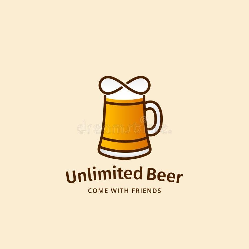 Unbegrenztes Bier-Zusammenfassungs-Vektor-Zeichen, Emblem oder Logo Template Becher-Schattenbild mit Unendlichkeits-Symbol Gut fü stock abbildung