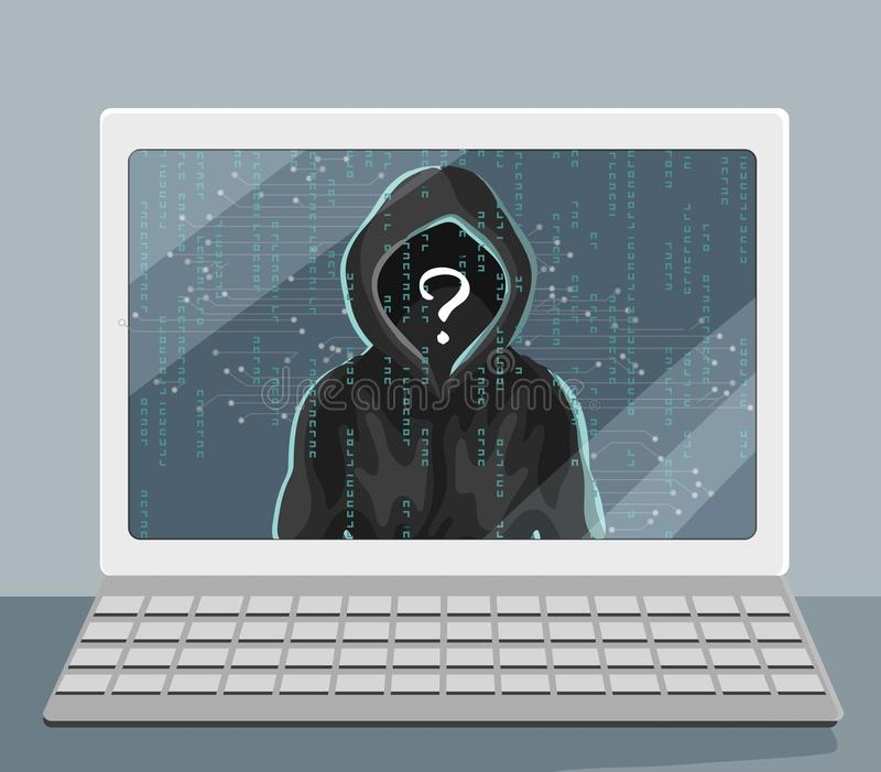 Unbekannter Mensch in der Haube auf Laptopschirm Zerhacken und Sicherheitsproblem stock abbildung