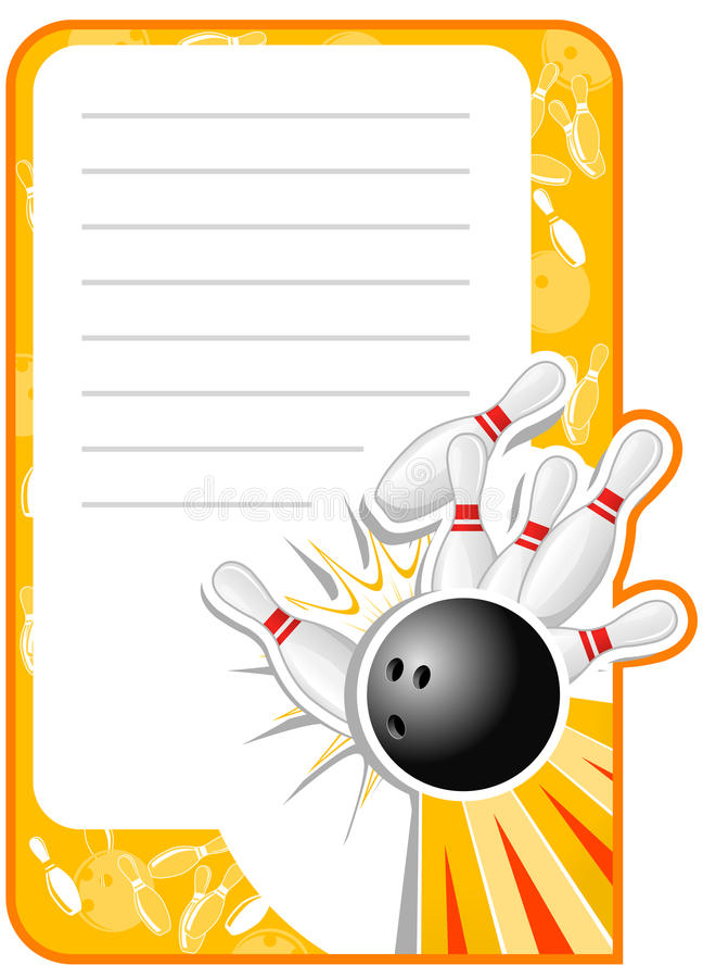 Unbelegte Bowlingspiel-Einladung stock abbildung