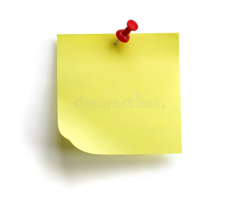 Unbelegte gelbe klebrige Anmerkung lizenzfreies stockfoto