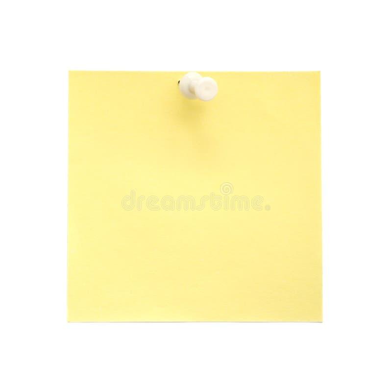 Unbelegte gelbe klebrige Anmerkung mit weißem Stoßstift stockbilder