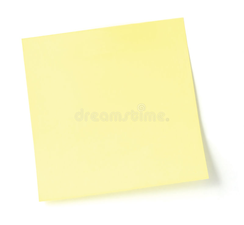 Unbelegte gelbe Post-Itliste stockfoto
