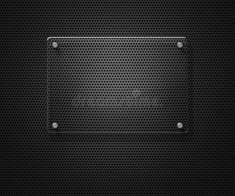 Unbelegte Glasplatte über Metallineinander greifen stock abbildung