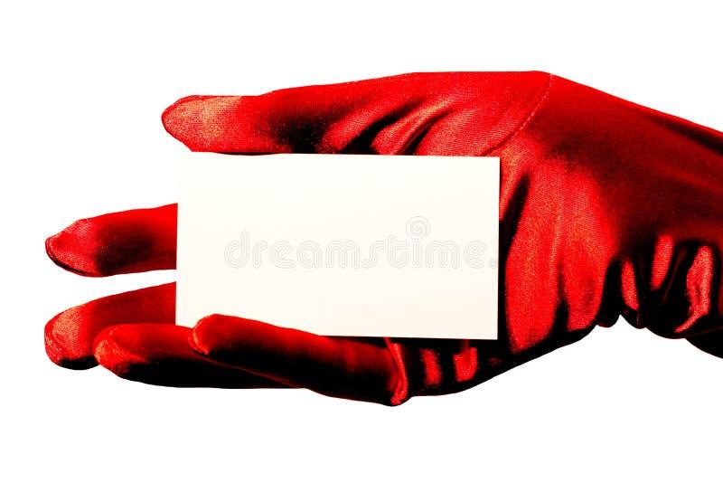 Unbelegte Karte u. roter Handschuh stockbilder