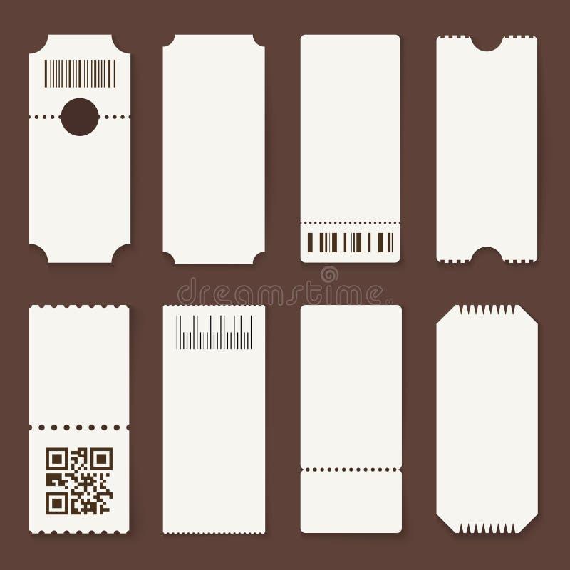 Unbelegte Karten Konzerttheater oder Flugzeugleere Papierkarten, Film lassen Kupons einen zu Lotterie lokalisierter Vektor 3d lizenzfreie abbildung