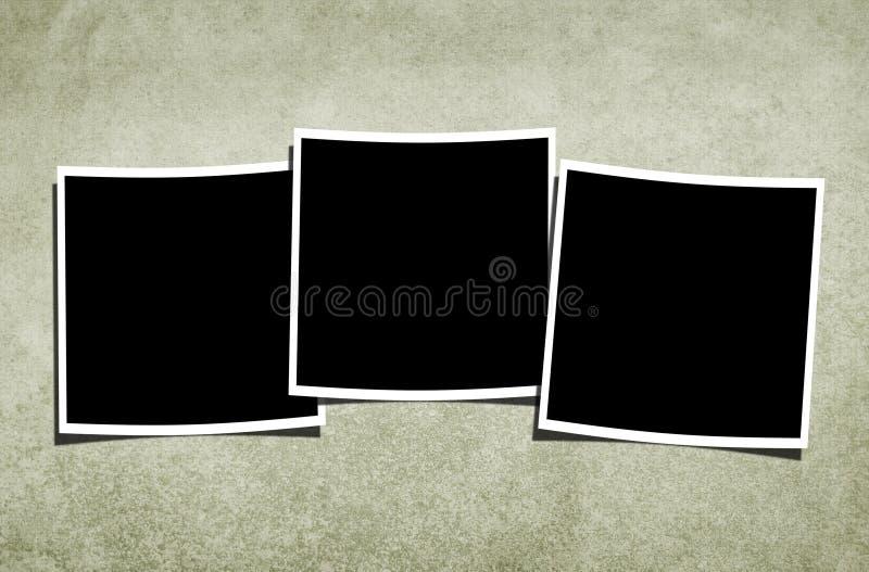 Unbelegte Polaroide über Weinlese-Hintergrund stock abbildung