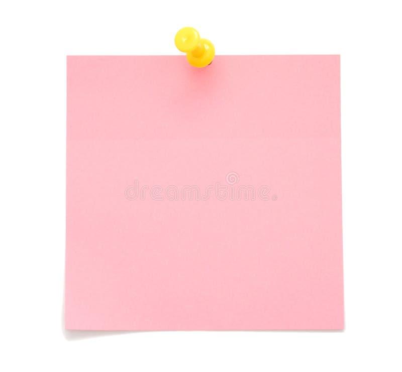 Unbelegte rosafarbene Post-Itanmerkung lizenzfreies stockbild