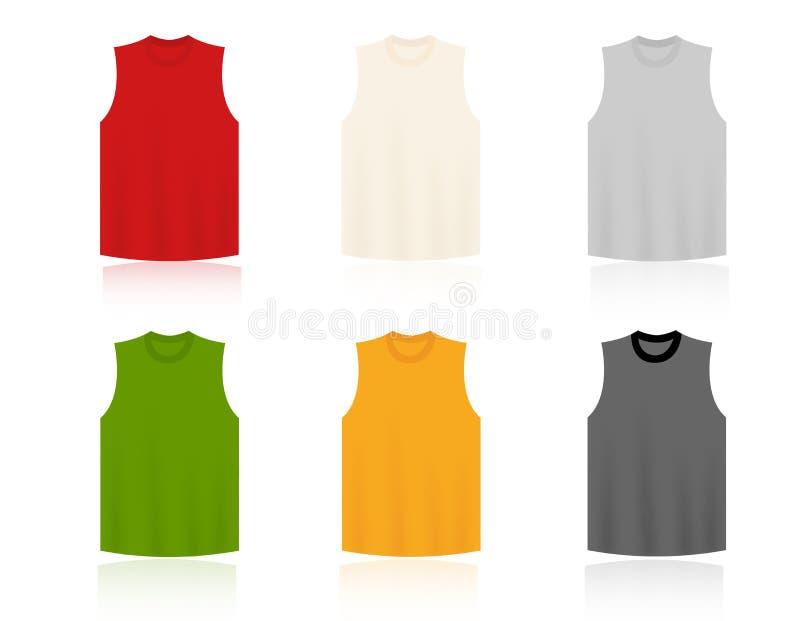 Unbelegte Schablonen der Sleeveless T-Shirts stock abbildung