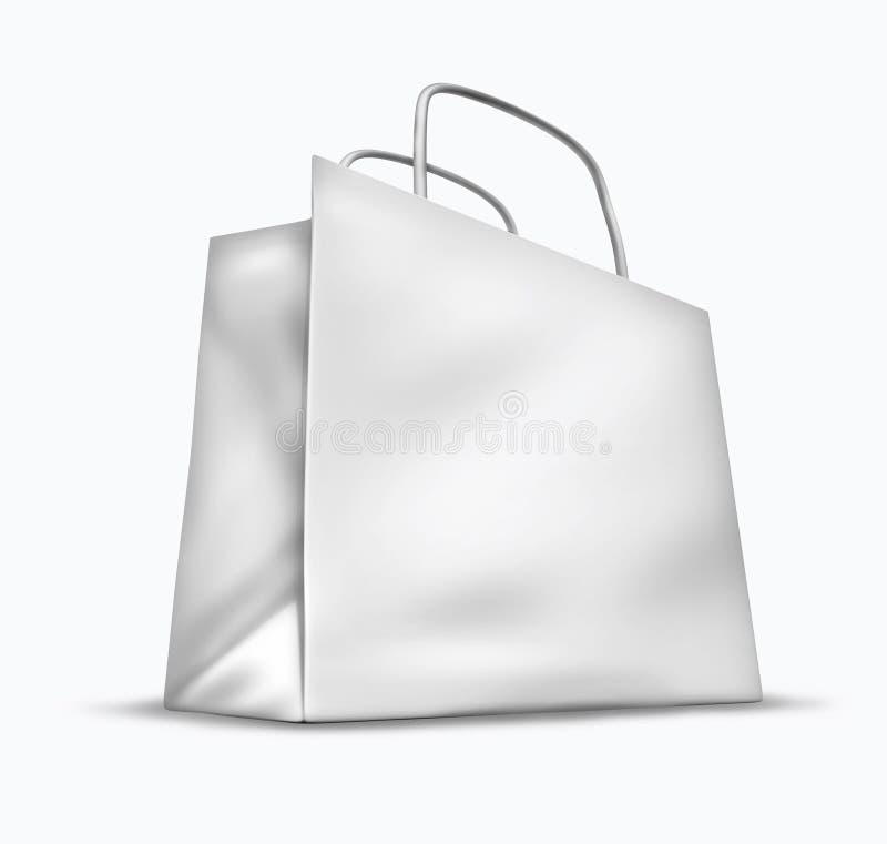 Unbelegte weiße Einkaufstasche stock abbildung