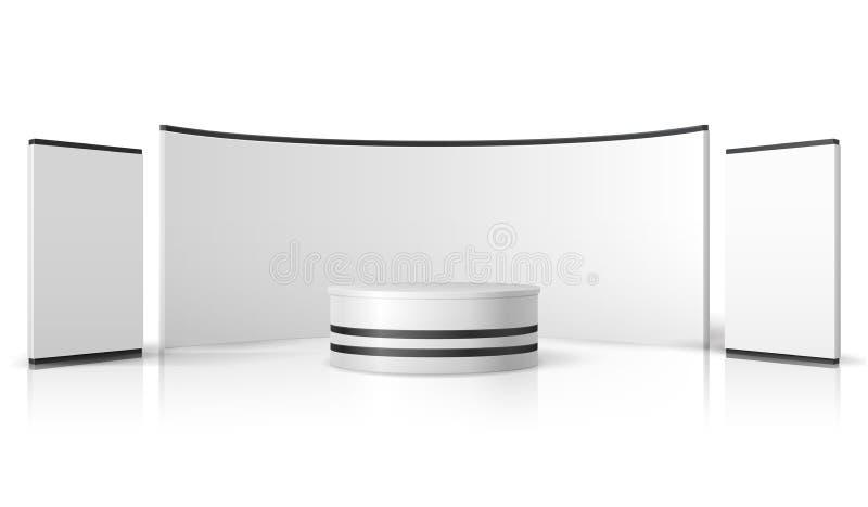 Unbelegter Messeenstand Weißer leerer Ausstellungsstand, förderndes Kleinmodell des Anzeigenvektors 3d stock abbildung