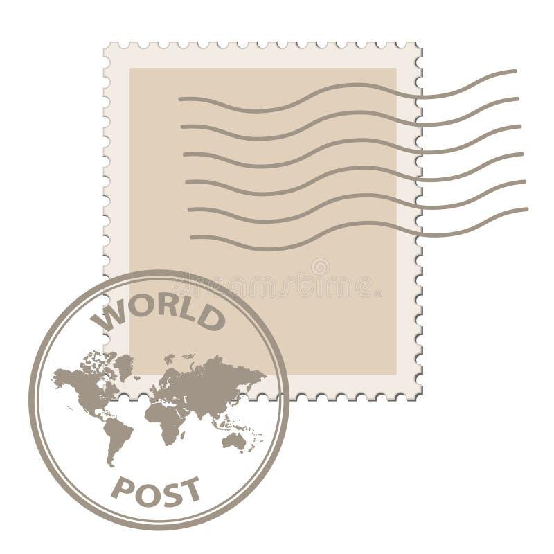 Unbelegter Pfostenstempel mit Weltkartenpoststempel stock abbildung